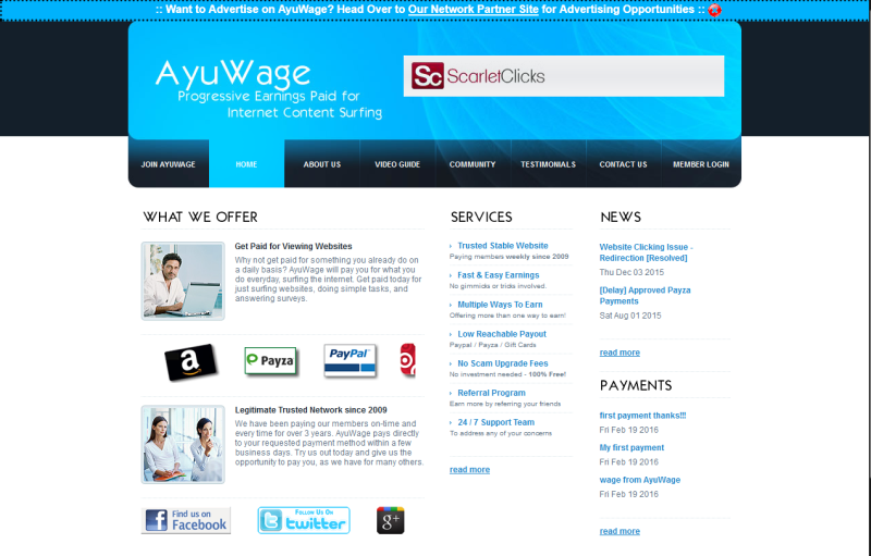 AyuWage – Make Money On Easy Way Clicking On The Ads – Earn
